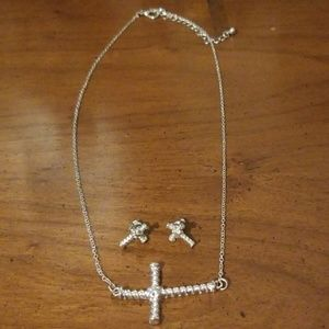 Jewelry - Cross necklace with matching cross earrings.